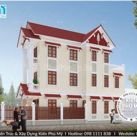 Thiết kế nhà phố 3 tầng mặt tiền 5,5m kiến trúc bán cổ điển