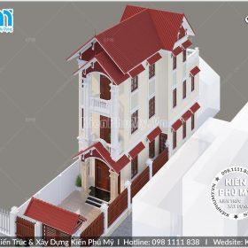 Thiết kế nhà lô phố 3 tầng mái thái tại hà nam