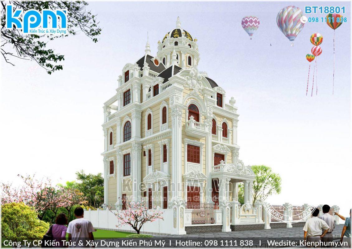 Mẫu lâu đài pháp 3 mặt tiền đẳng cấp