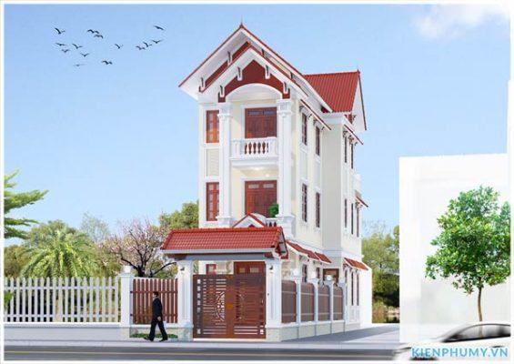 Thiết kế nhà phố mái thái mặt tiền 5m đẹp