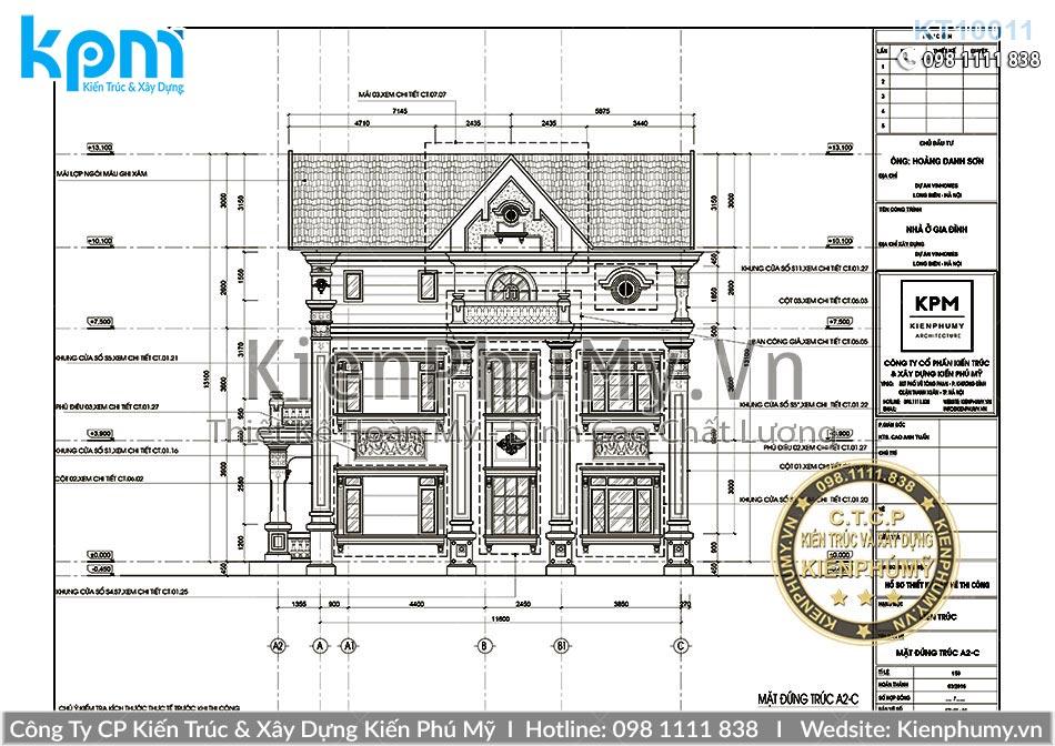 Bản vẽ chi tiết biệt thự 3 tầng đẹp diện tích 90m2 1 sàn