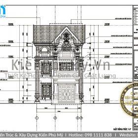 Bản vẽ chi tiết biệt thự 3 tầng mái thái 7x13m