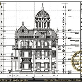Bản vẽ thiết kế biệt thự lâu đài mặt tiền 11m