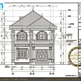 Bản vẽ thiết kế nhà 2 tầng mái thái mặt tiền 8m