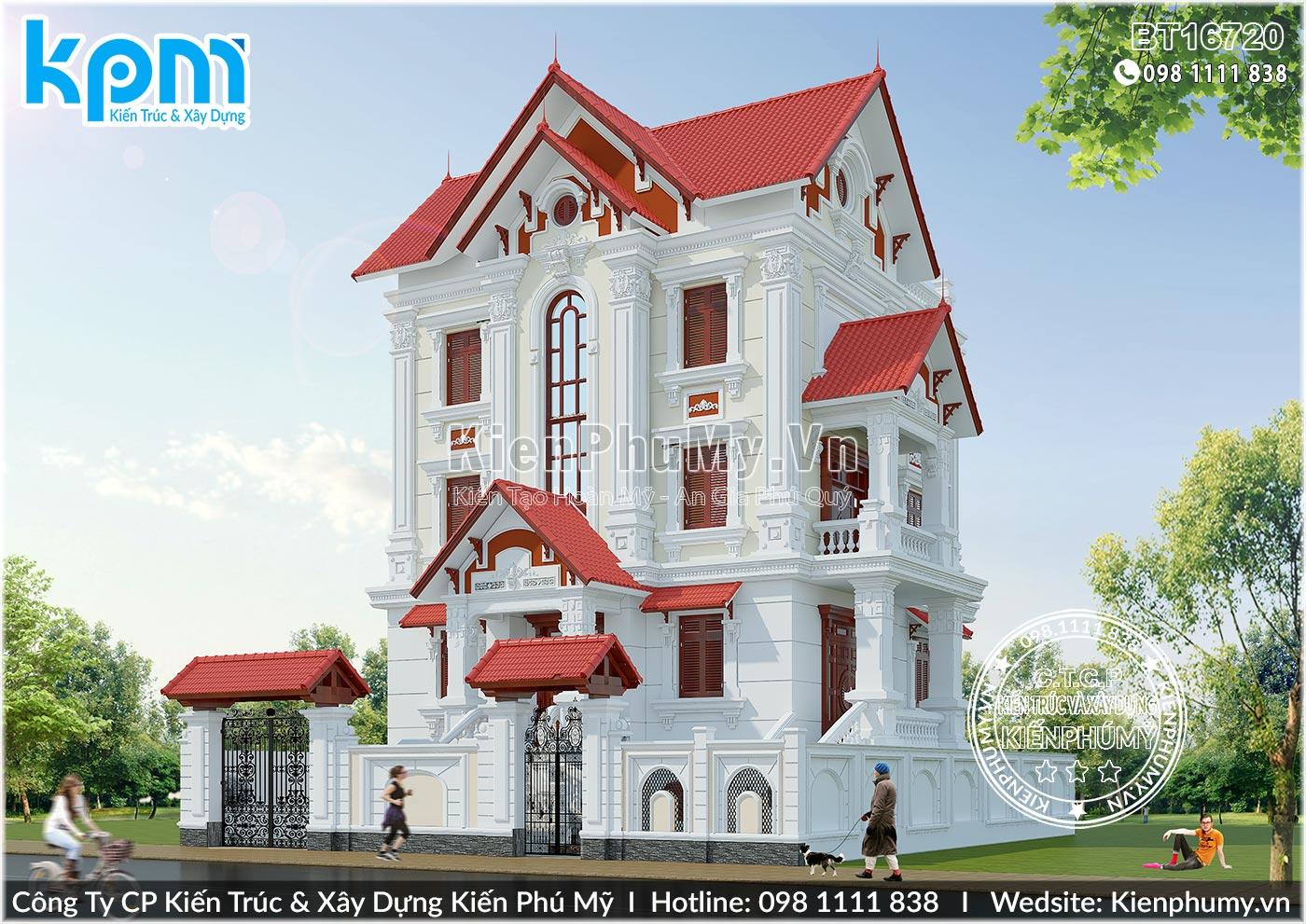 Mẫu nhà biệt thự tân cổ điển 4 tầng 2 mặt tiền lộng lẫy