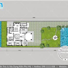 Bản vẽ nhà biệt thự 1 tầng 4 phòng ngủ