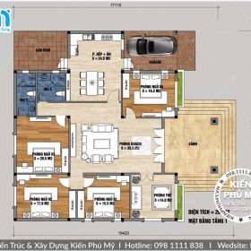 Bản vẽ nhà vườn 1 tầng diện tích 180m2 4 phòng ngủ