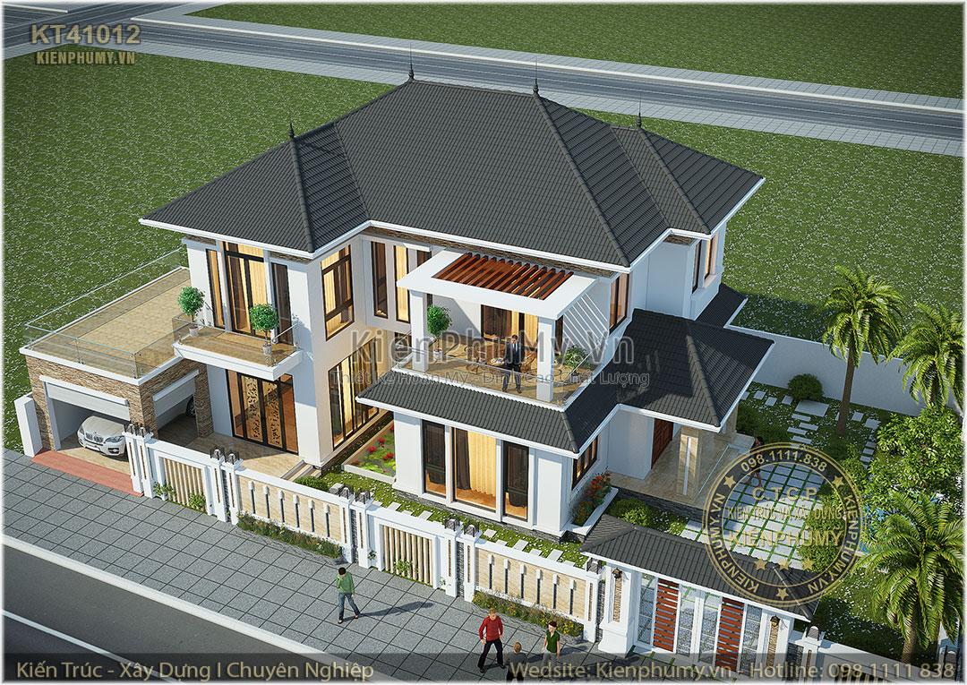 Thiết kế biệt thự 2 tầng mái thái đẹp hiện đại