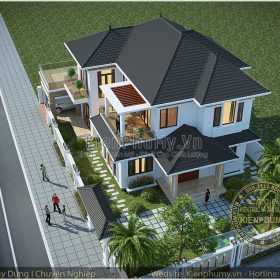Mẫu thiết kế nhà biệt thự mái thái 2 tầng đẹp kết hợp sân vườn rộng