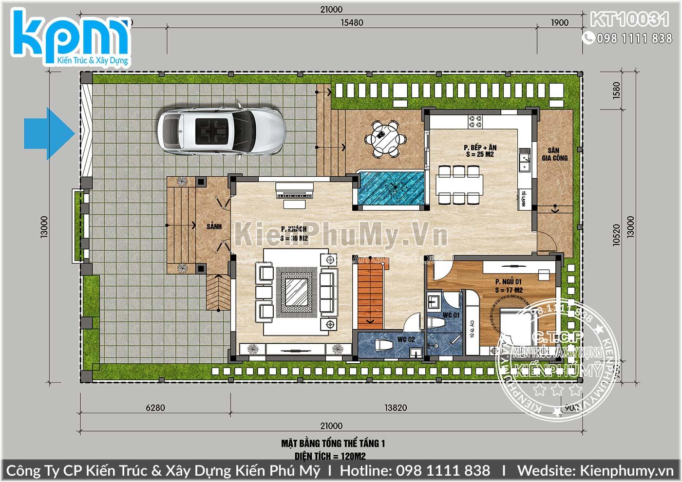 Mặt bằng mẫu nhà mái thái 3 tầng diện tích 130m2 một sàn
