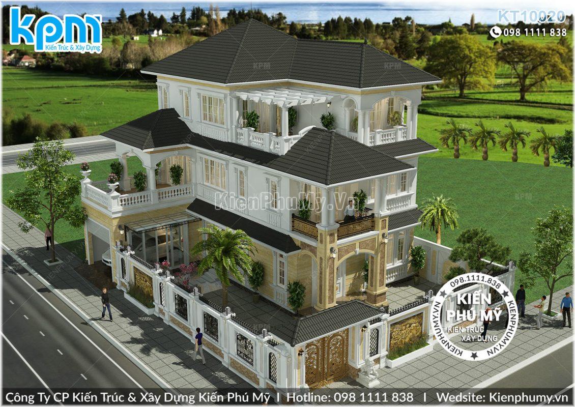 Thiết kế tổng thể căn nhà biệt thự đẹp mái thái