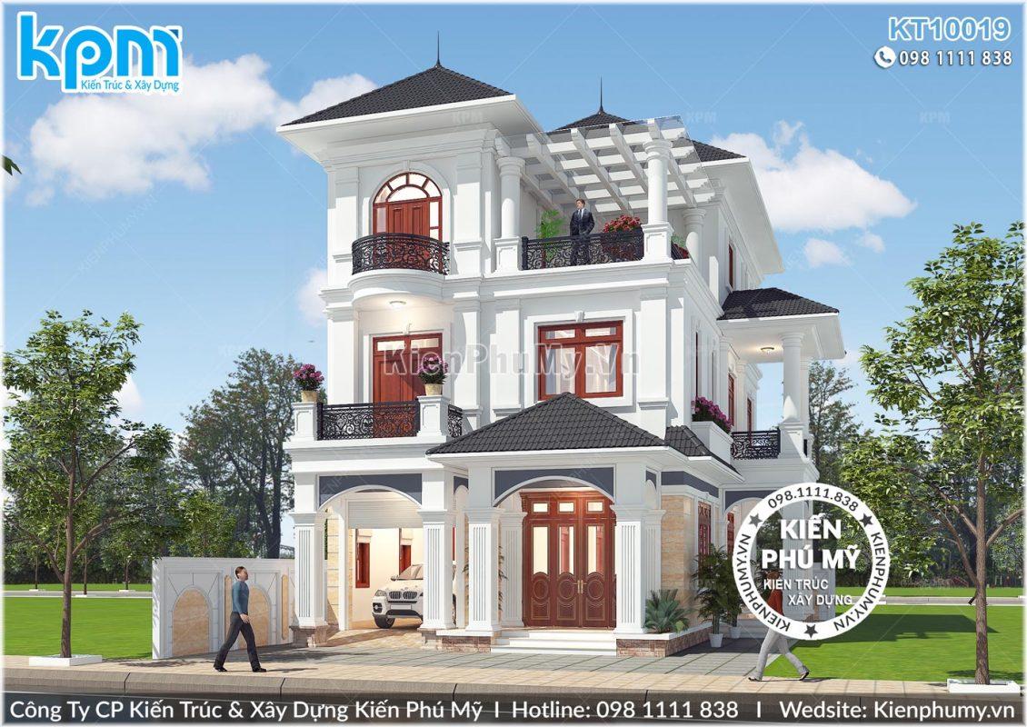Kiến trúc mặt tiền đẹp hoàn hảo của căn biệt thự 3 tầng mái thái