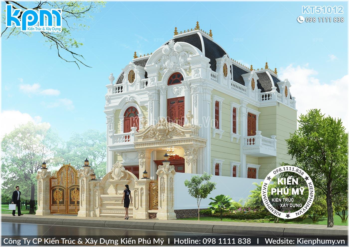 Phối cảnh kiến trúc mặt bên mẫu biệt thự 2 tầng cổ điển tại Quảng Ninh