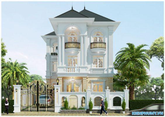 Biệt thự 3 tầng mái thái kiến trúc cổ điển đẹp