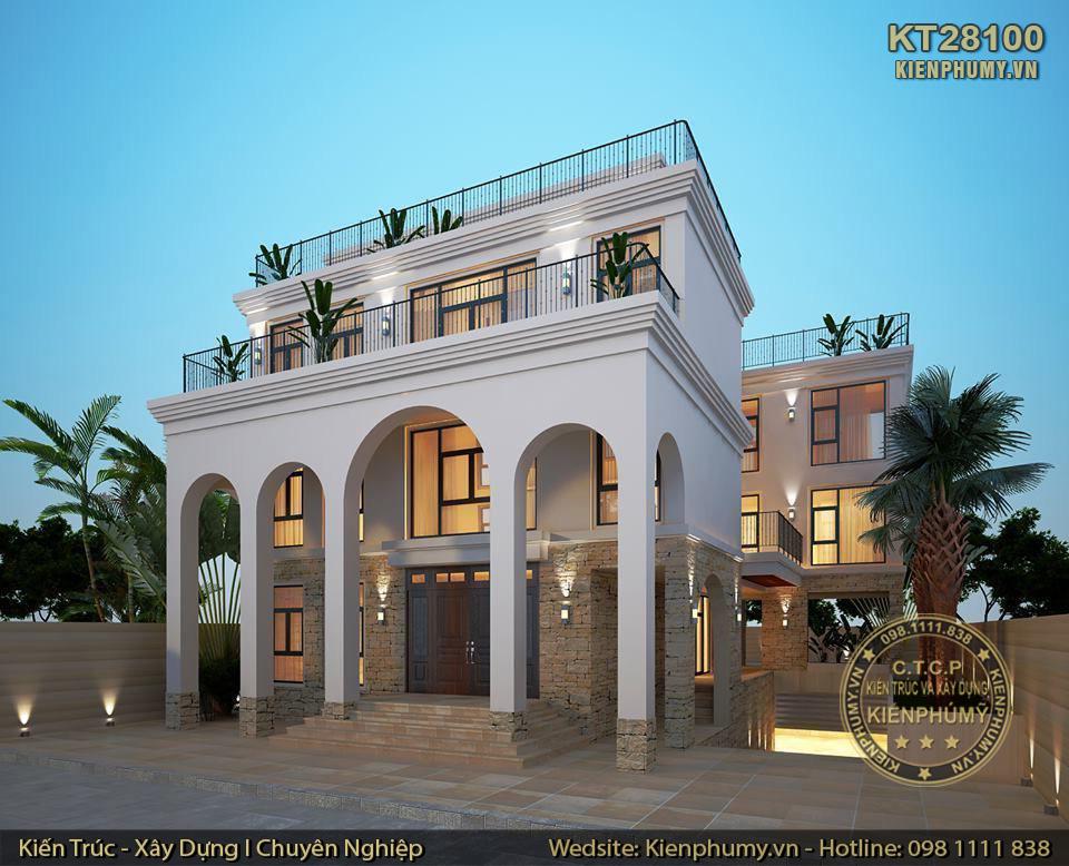 Biệt thự hiện đại kiến trúc địa trung hải 3 tầng