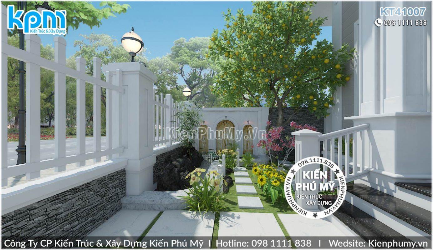 Thiết kế sân vườn nhà biệt thự 1 tầng 1 lửng