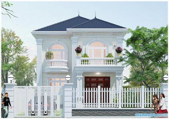 thiết kế biệt thự 2 tầng mặt tiền 8m đẹp kiến trúc tân cổ điển