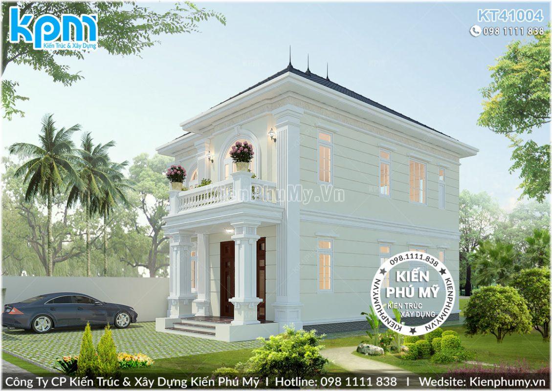 Thiết kế nhà tân cổ điển 2 tầng mặt tiền 8m đẹp