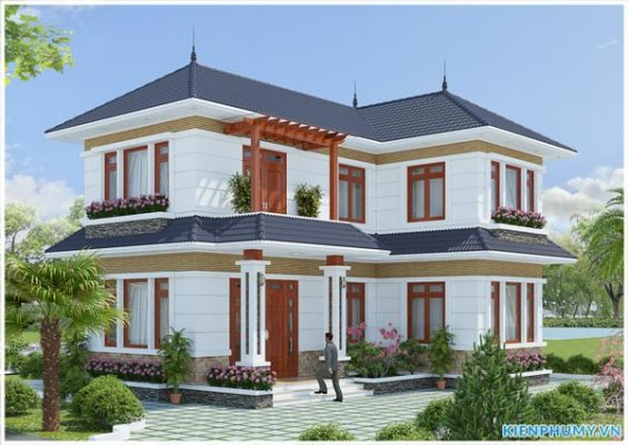 Mẫu nhà vườn 2 tầng chữ L đẹp tại Phú Thọ