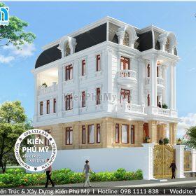 Mẫu thiết kế biệt thự 4 tầng kiến trúc Pháp cổ mái vuông