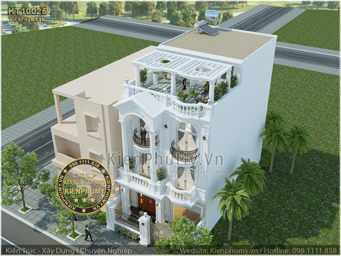 Thiết kế tổng thể kiến trúc ngoại thất căn biệt thự mặt tiền 8m