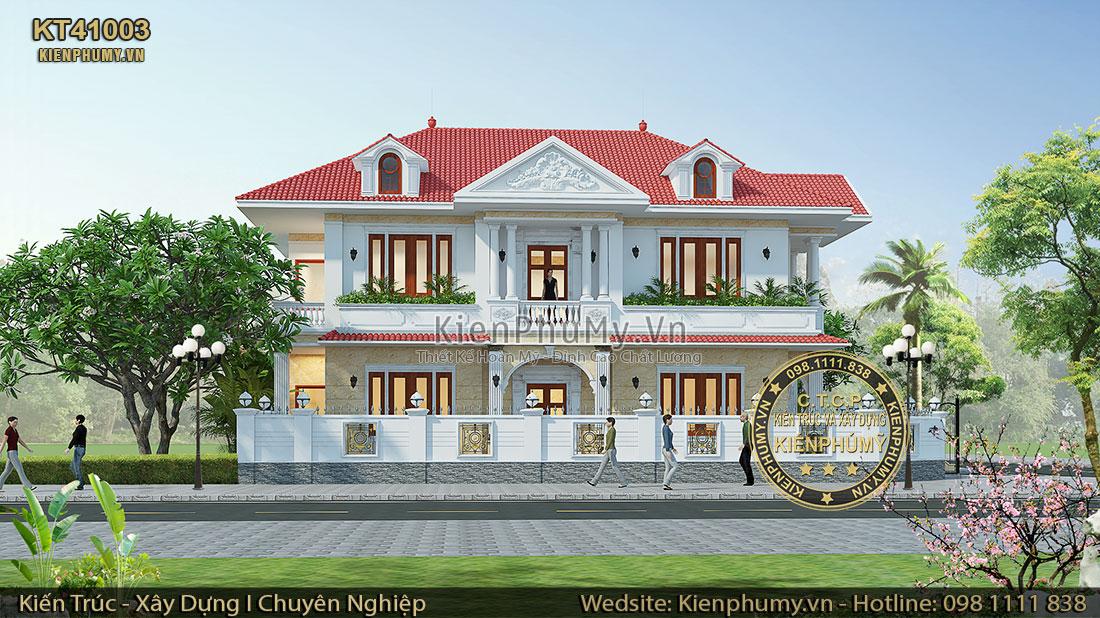 Mặt tiền chính mẫu nhà 2 tầng mái thái đẹp tại Lạng Sơn