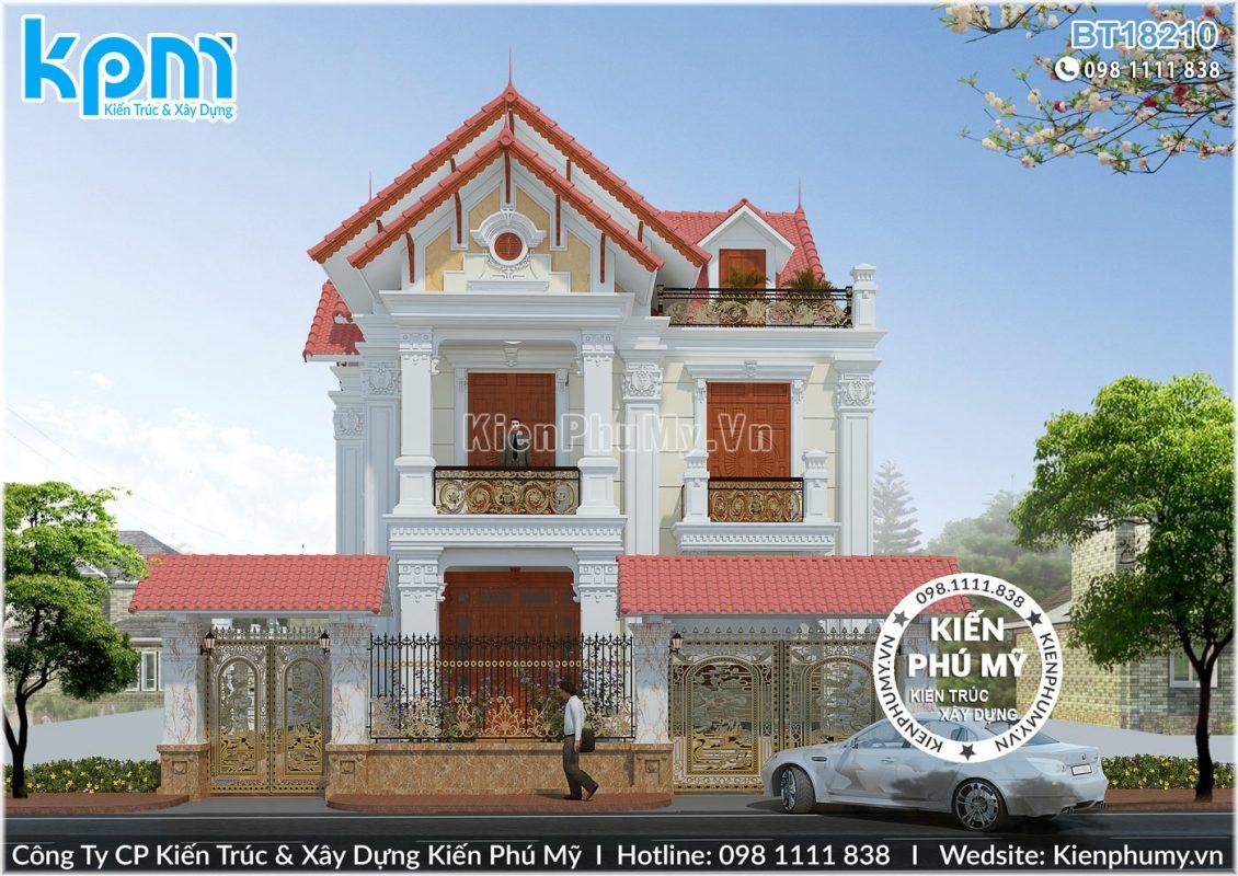 Thiết kế mặt tiền rộng 9m của căn biệt thự tân cổ điển 2 tầng