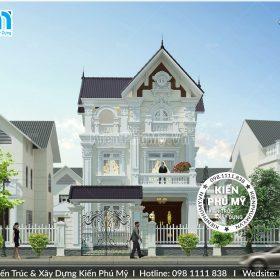 Kiến trúc mặt tiền rộng 7m của biệt thự đẹp 3 tầng