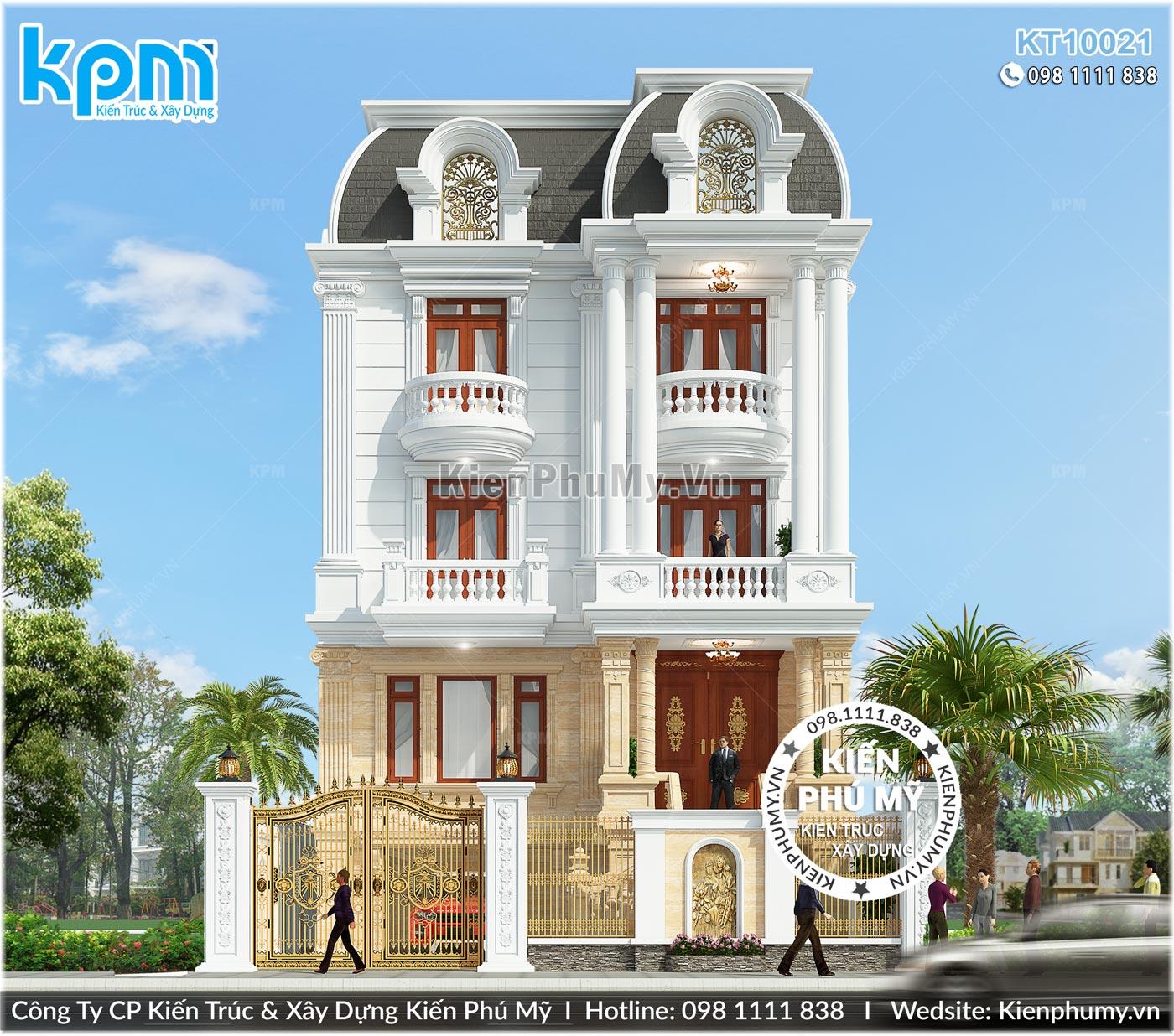 Mặt tiền rộng 10m đẳng cấp của căn biệt thự 4 tầng