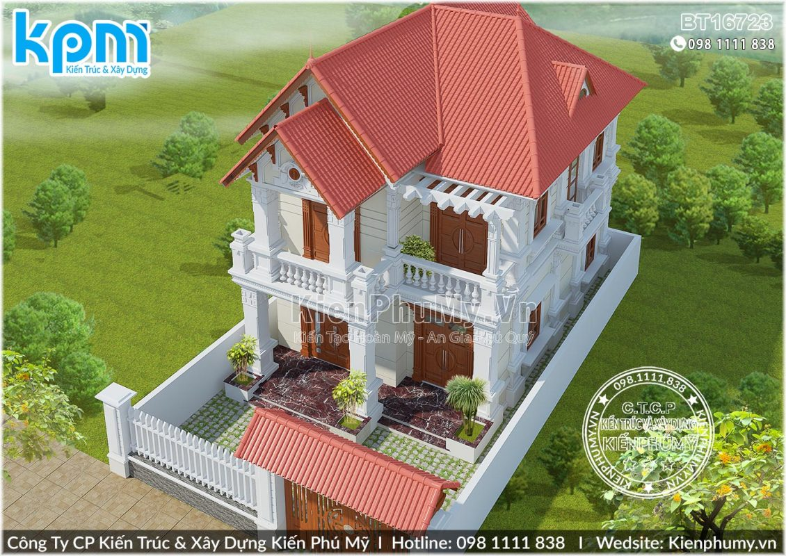 Biệt thự tân cổ điển 2 tầng mái thái đẹp tại Bắc Ninh