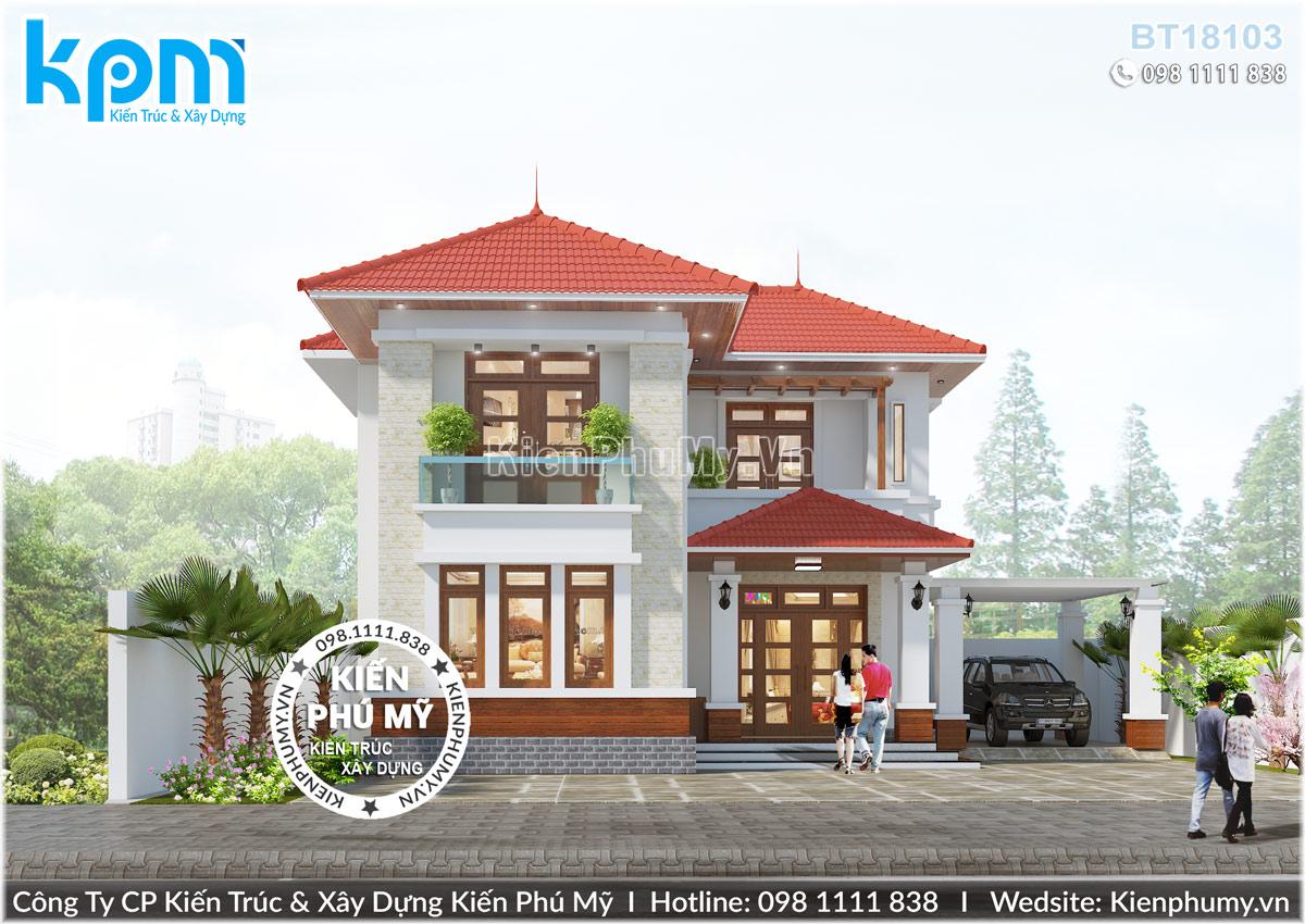 Thiết kế nhà vườn chữ l 2 tầng đơn giản