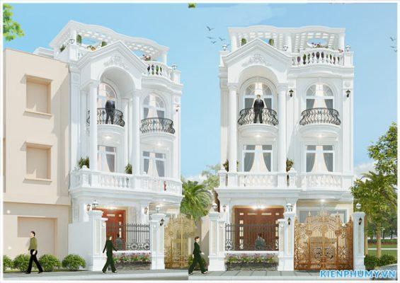 Thiết kế biệt thự 3 tầng mặt tiền 8m cổ điển