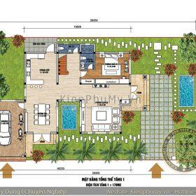 Bản vẽ nhà mái thái 2 tầng đẹp 120m2 1 sàn