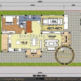 Bản vẽ biệt thự mái thái 2 tầng 8x15m đẹp tại Lạng Sơn