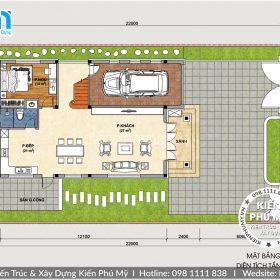 bản vẽ thiết kế biệt thự 3 tầng 120m2 1 sàn
