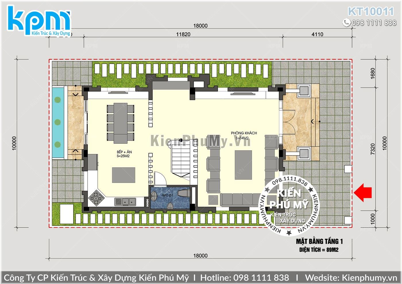Bản vẽ biệt thự tân cổ điển 3 tầng 90m2 mặt tiền rộng 7m