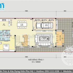 Bản vẽ mặt bằng biệt thự 3 tầng 8x16m phong cách cổ điển sang trọng