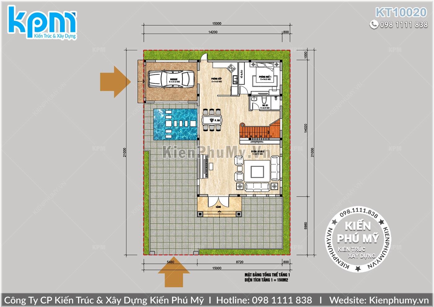 Mặt bằng tầng 1 của mẫu nhà biệt thự đẹp kích thước 8,5x14m