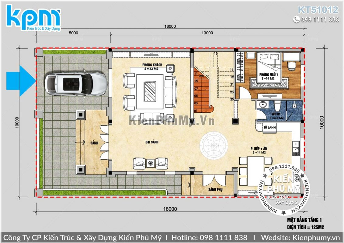 Măt bằng biệt thự cổ điển 2 tầng 1 tum 8x13m
