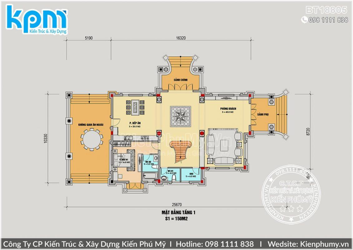 Thiết kế biệt thự lâu đài 2 tầng 1 tum