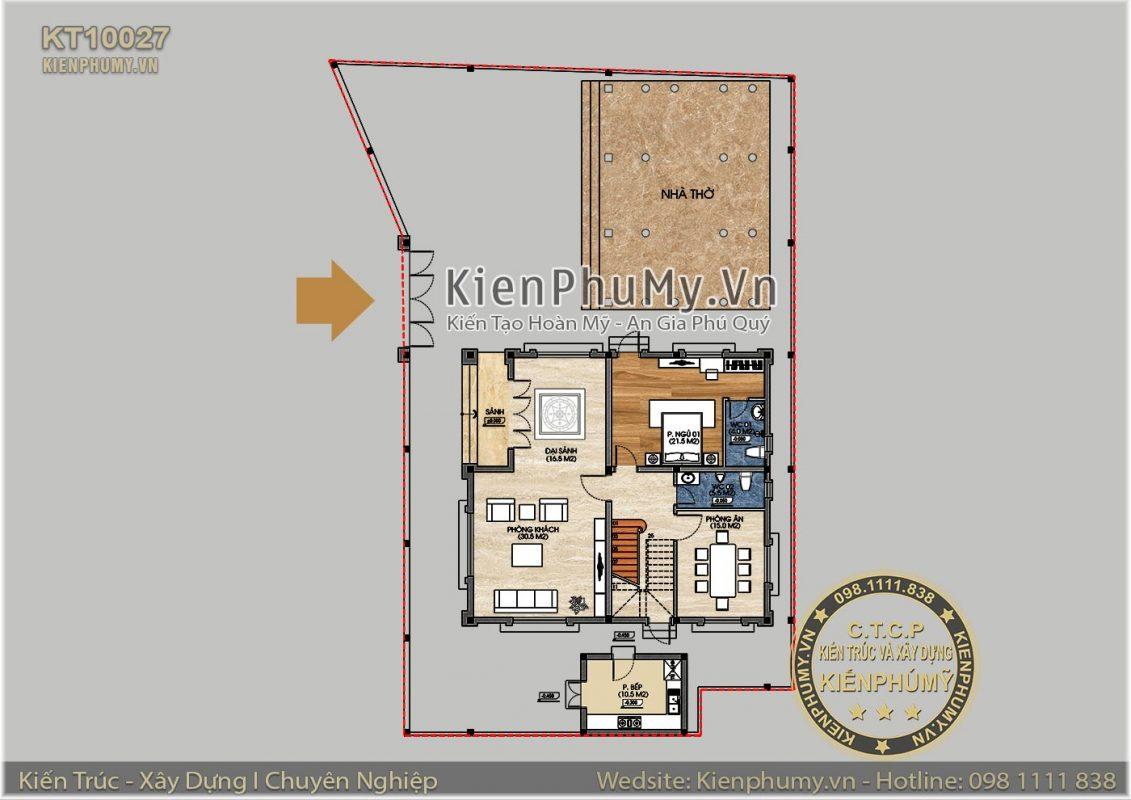 Bản vẽ mặt bằng tổng thể căn biệt thự 2 tầng 130m2