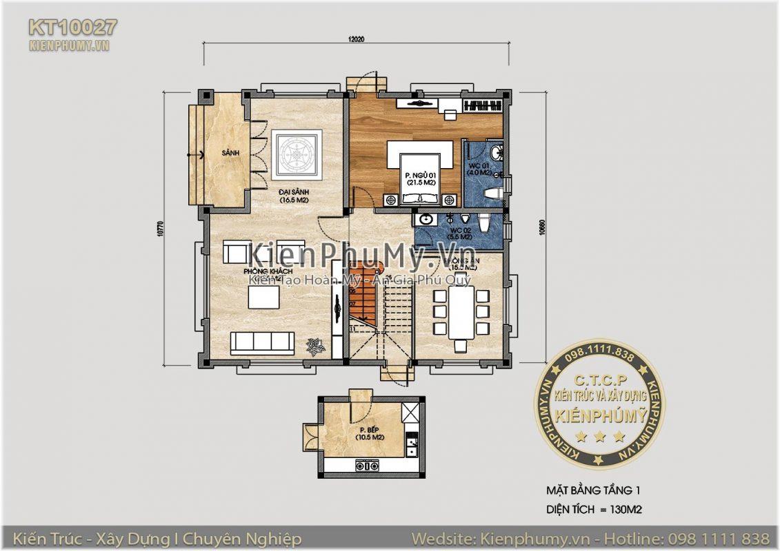 Thiết kế tổng thể mặt bằng mẫu nhà vuông 2 tầng 10x10m