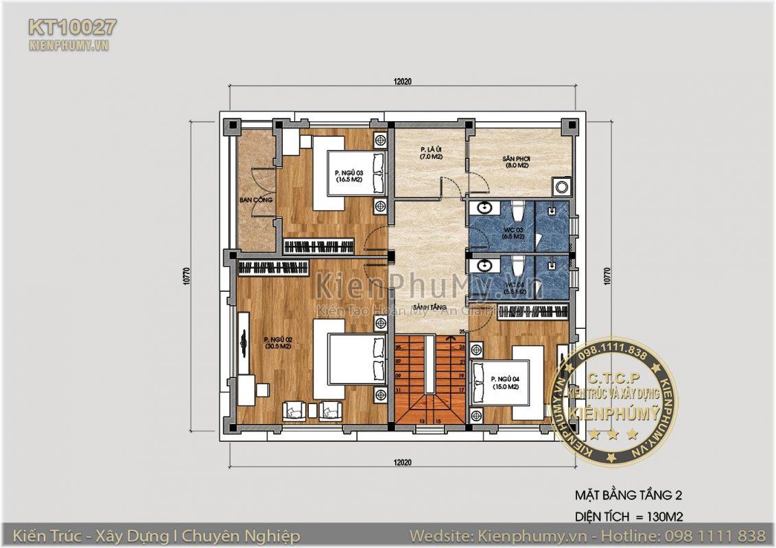 Mặt bằng mẫu biệt thự 2 tầng 130m2