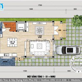 Mặt bằng biệt thự 3 tầng 7x11m