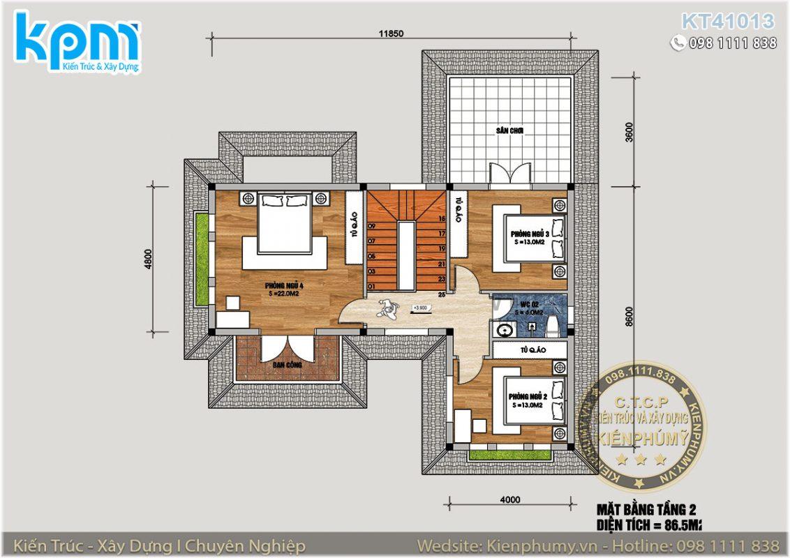 Bản vẽ thiết kế nhà vườn chữ L 2 tầng 100m2 4 phòng ngủ