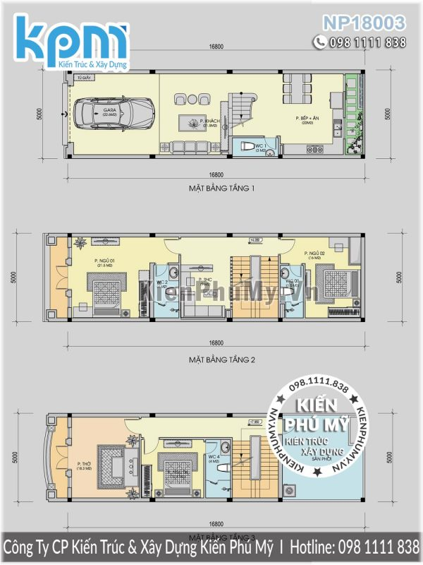 Bản vẽ nhà lô phố 5x16m 3 tầng