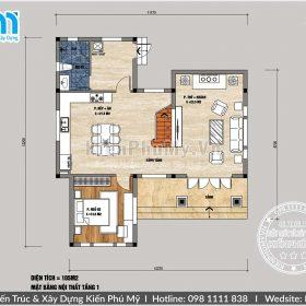 Bản vẽ tầng 1 nhà vườn mái thái 2 tầng 100m2 1 sàn