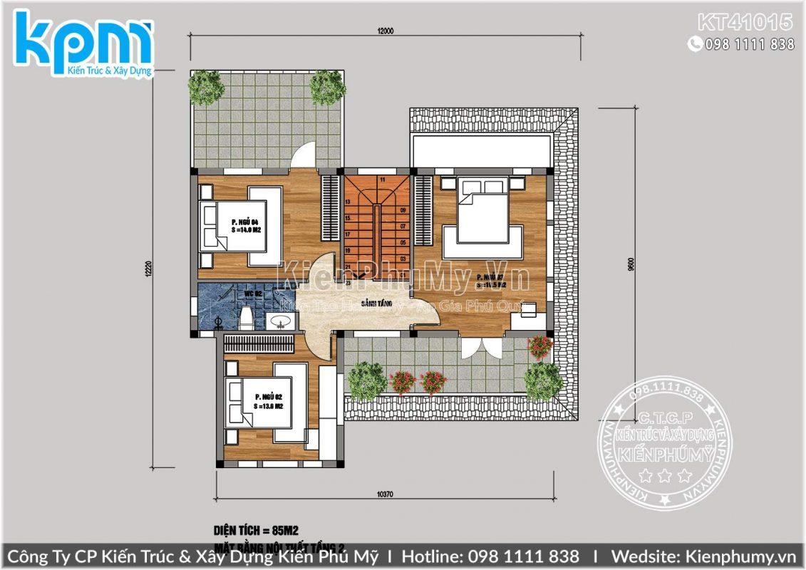 Bản vẽ tầng 2 nhà vườn mái thái 2 tầng 100m2 1 sàn