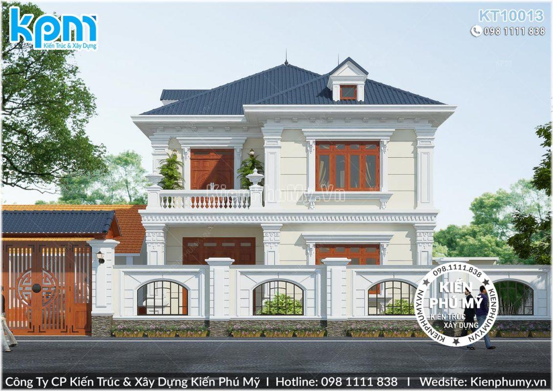 Thiết kế biệt thự 2 tầng mặt tiền 10m phong cách kiến trúc cổ điển
