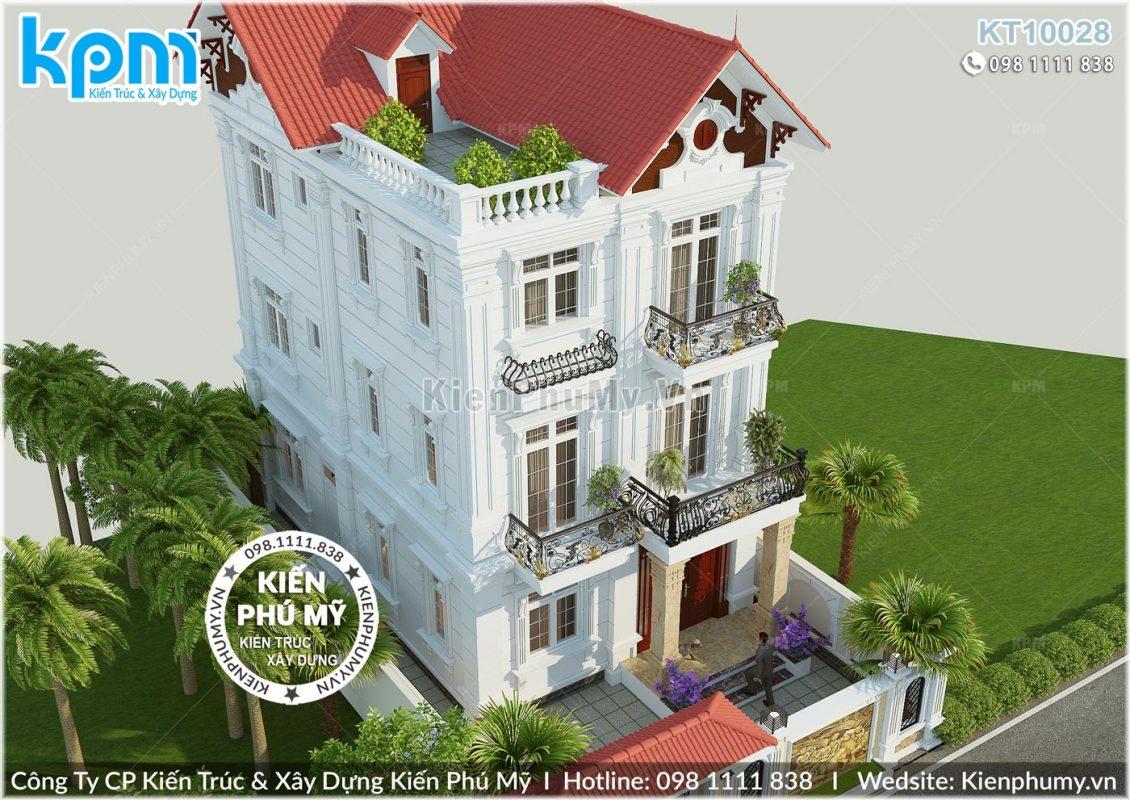 Tổng thể mẫu thiết kế biệt thự 3 tầng tân cổ điển Pháp
